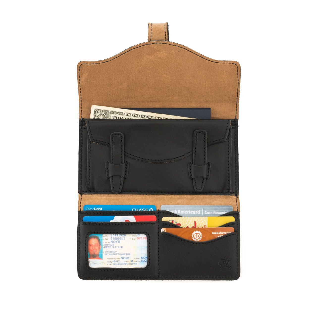 long trifold leather wallet in black leather with full content: money, passport, card, driver's license
