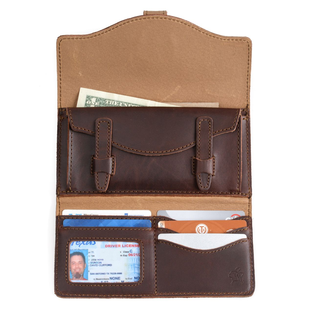 long trifold leather wallet in chestnut leather with full content: money, card, driver's license