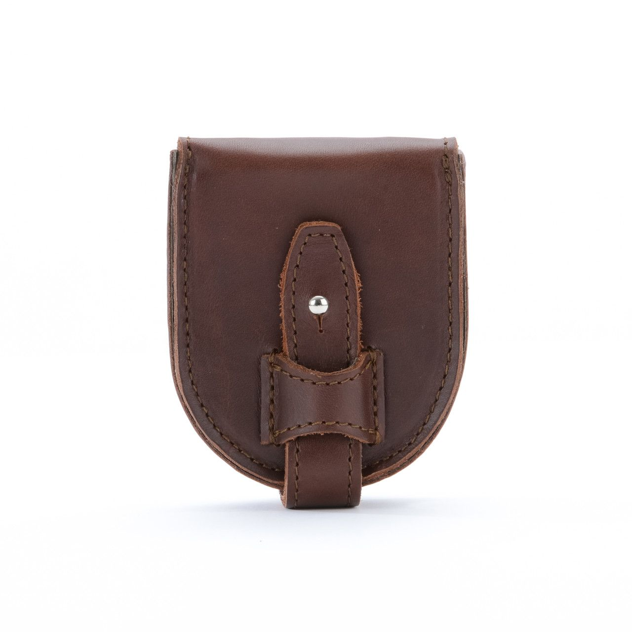 leather coin purse in chestnut leather