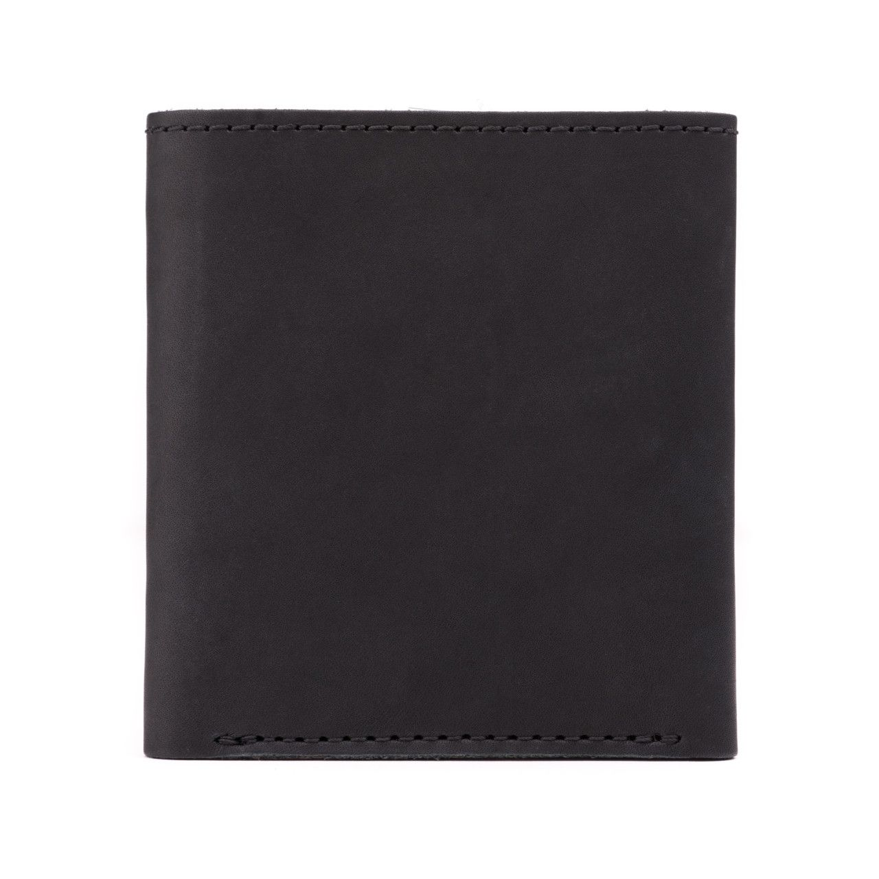 leather trifold wallet in black leather