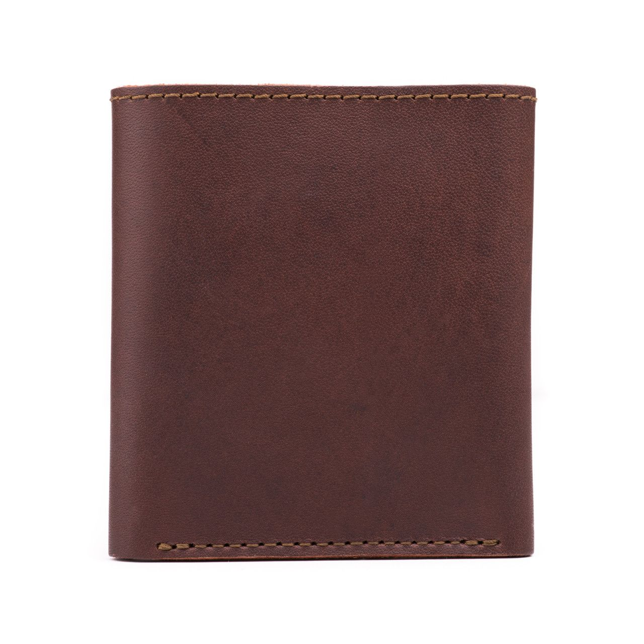 leather trifold wallet in chestnut leather