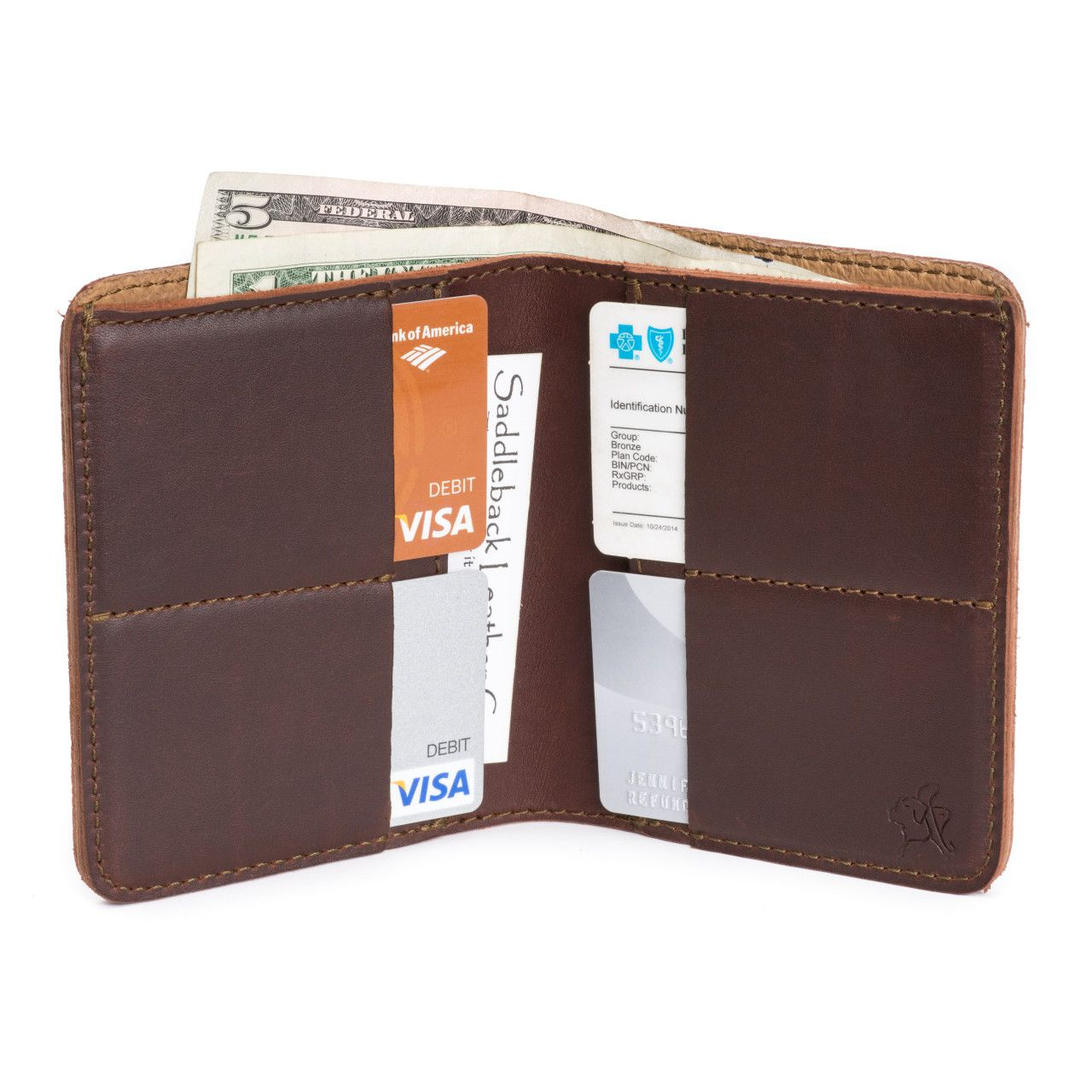 large leather bifold wallet large in chestnut leather with money, credit cards, business cards