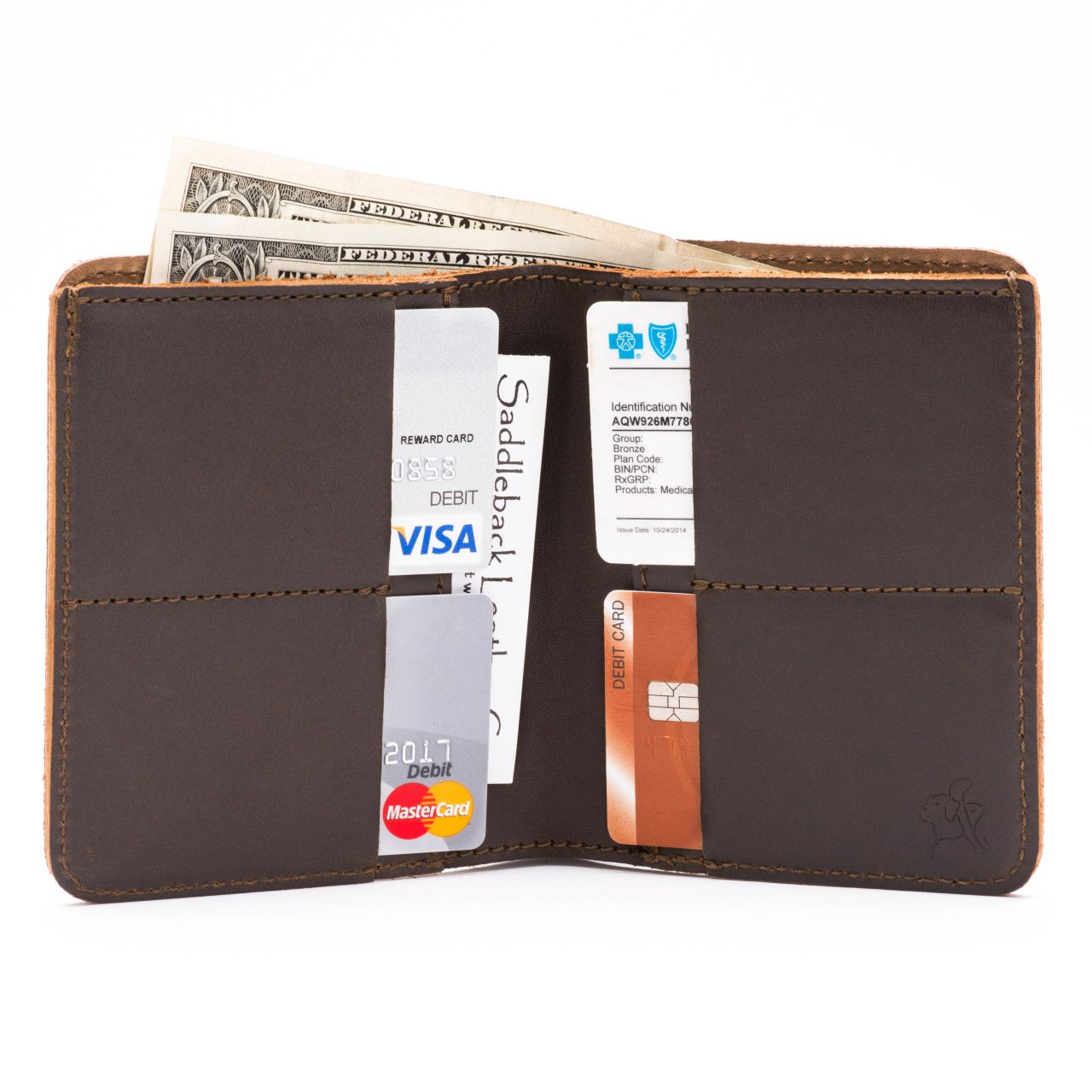 large leather bifold wallet large in dark coffee brown leather with money, credit cards, business cards