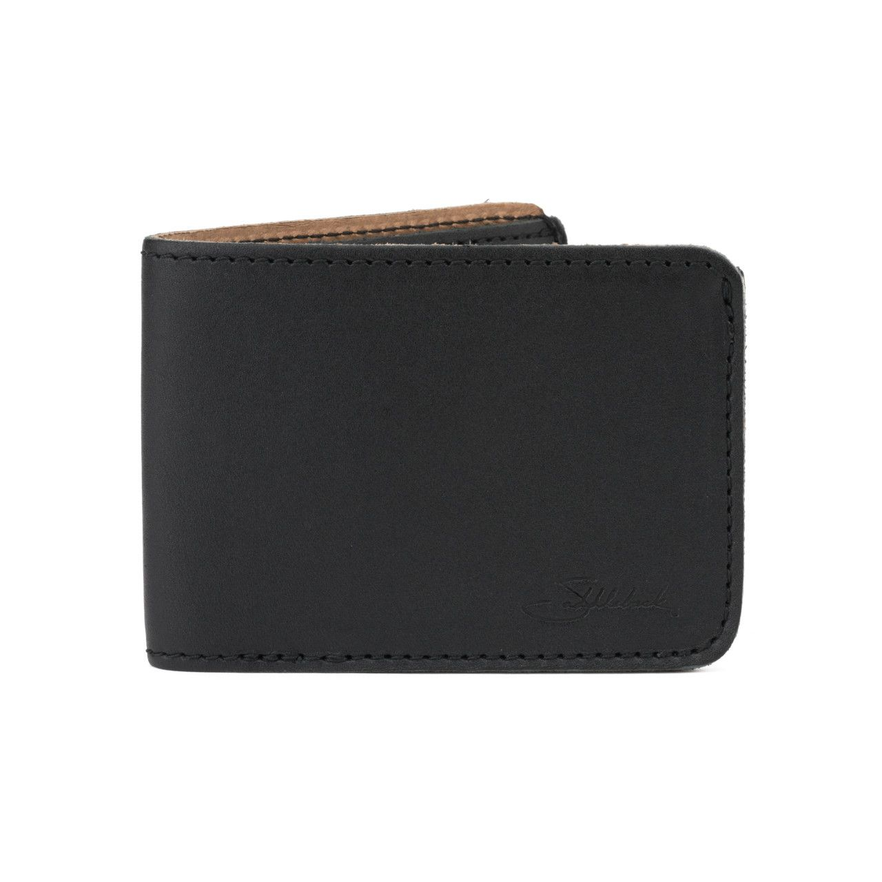 small leather bifold wallet small in black leather