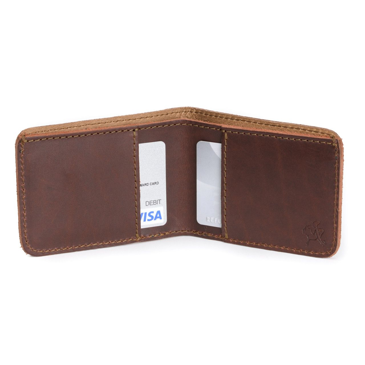 small leather bifold wallet small in chestnut leather