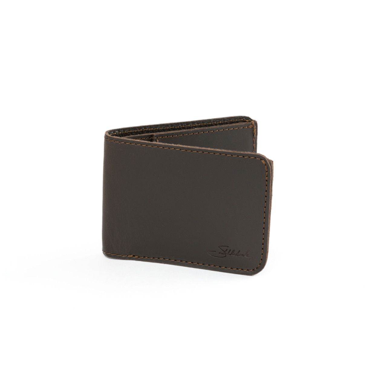 small leather bifold wallet small in dark coffee brown leather