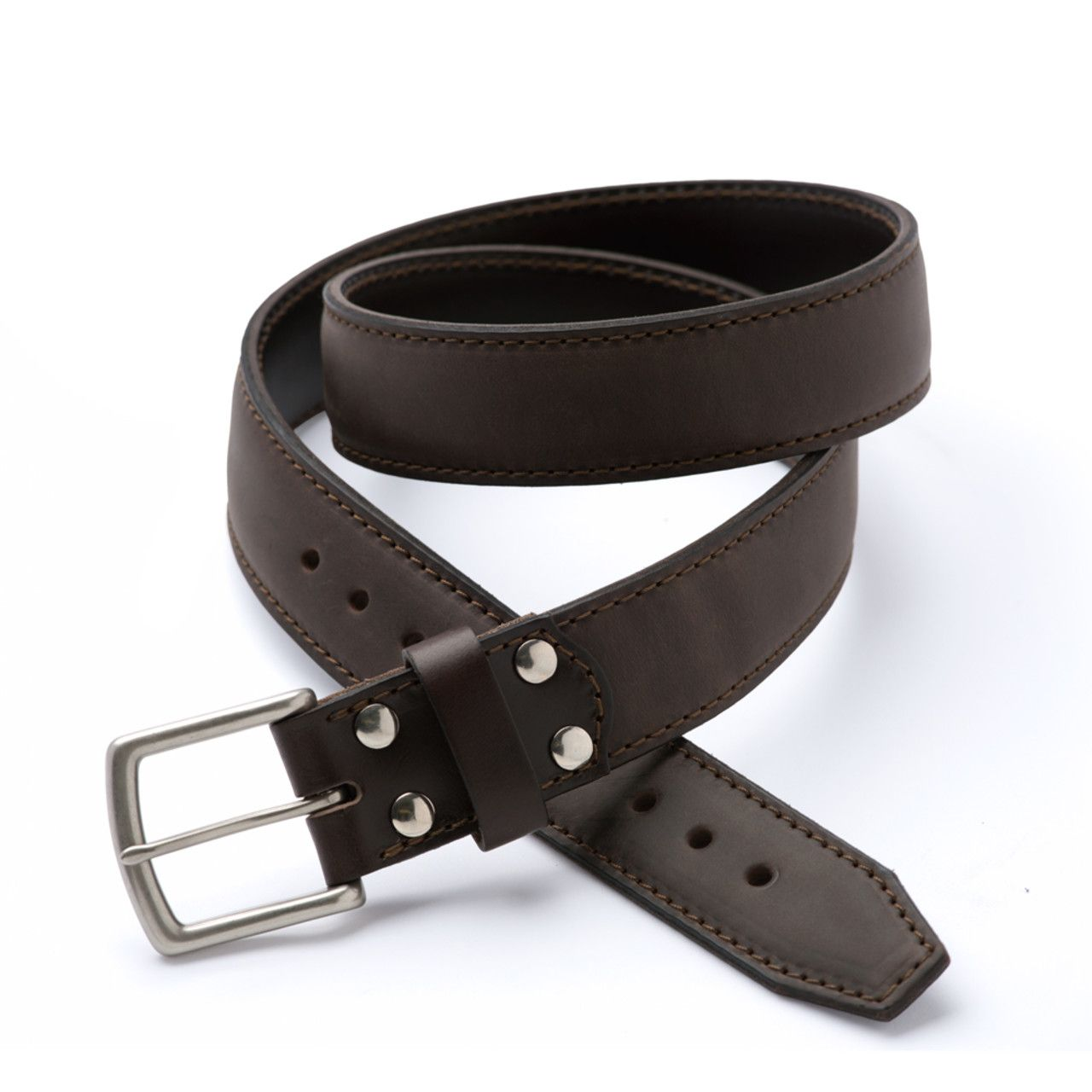 leather tow belt 34 inch in dark coffee brown leather