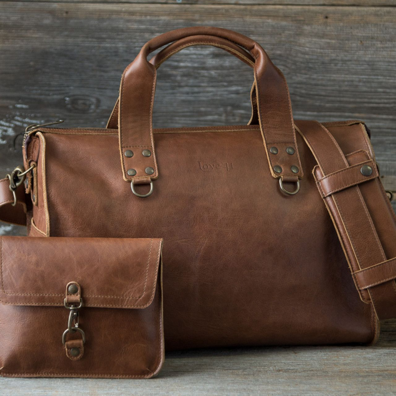 Leather Overnight Duffel Bag in tobacco brown