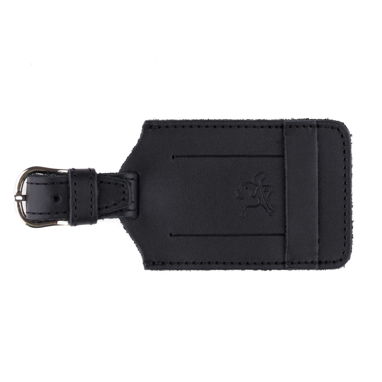 leather luggage tag in black leather
