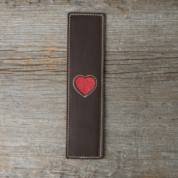 Leather Heart Bookmark in dark coffee brown