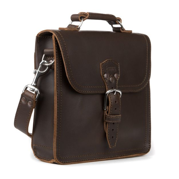 indiana leather satchel medium in dark coffee brown leather