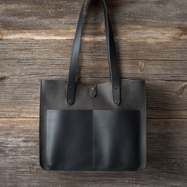 Leather Pocket Tote in black