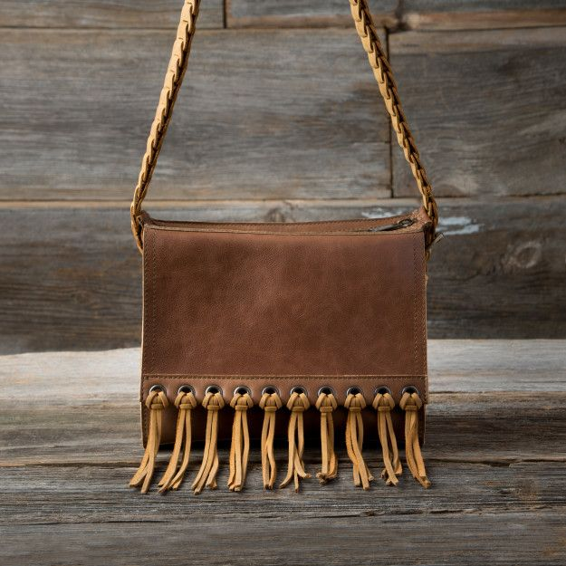 Sarape Leather Bag in caramel brown