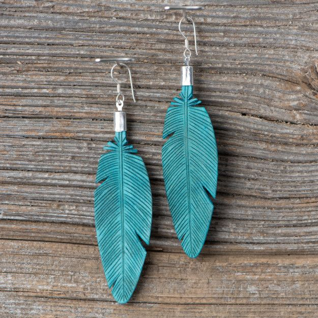 Leather Feather Earrings-New in turquoise