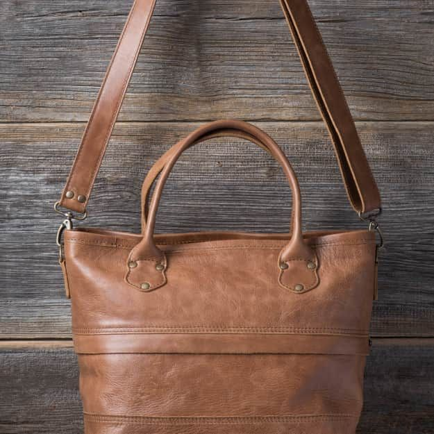 Suzette's steals Zipper Leather Tote in caramel brown