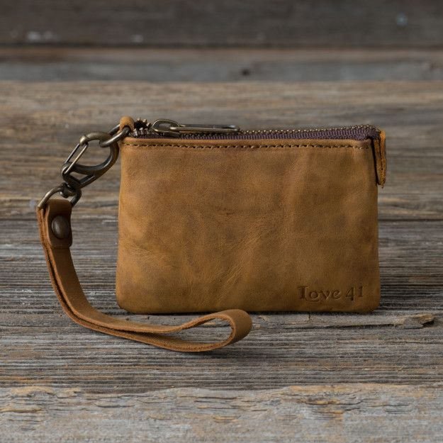 Wristlet ID wallet in tobacco