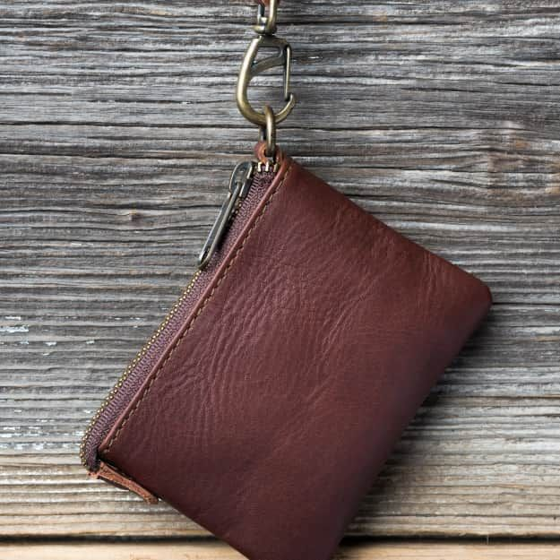 Wristlet ID wallet in chestnut