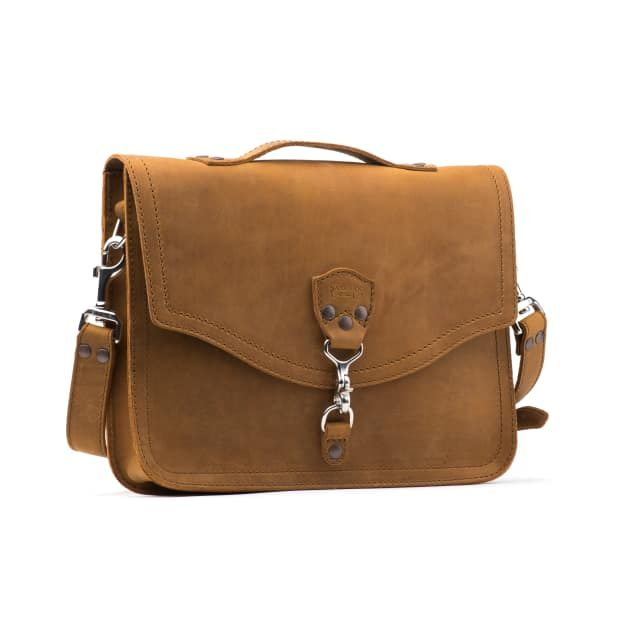 leather laptop bag in tobacco leather