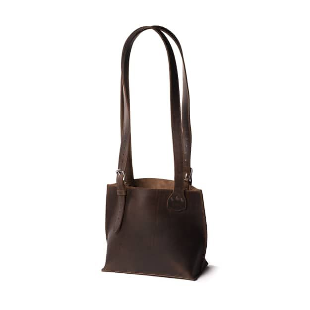 Leather Urban Tote in Color Dark Coffee Brown Front Angle