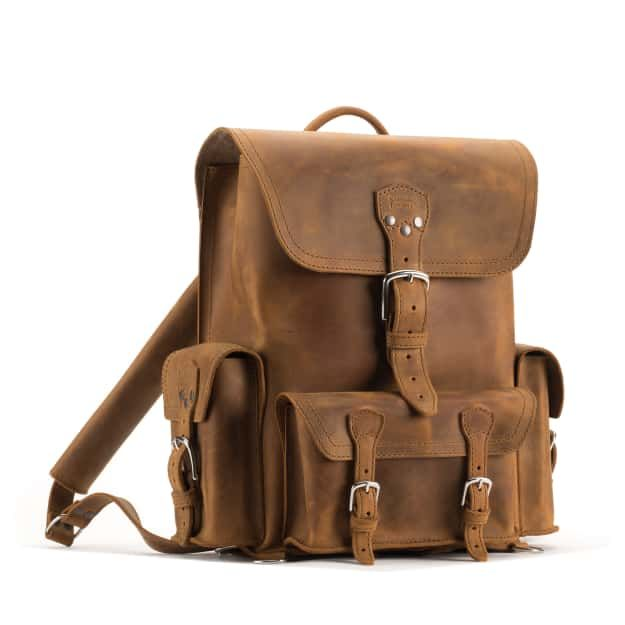 leather front pocket backpack large in tobacco leather