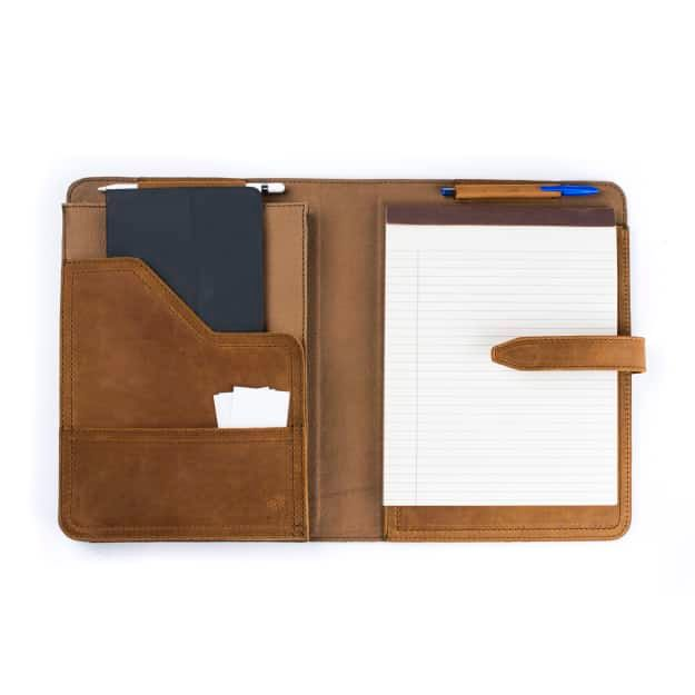 Leather Tablet Notepad Holder Open With Notepad and Pens in the Color Tobacco