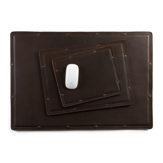 leather desk pad set in dark coffee brown leather