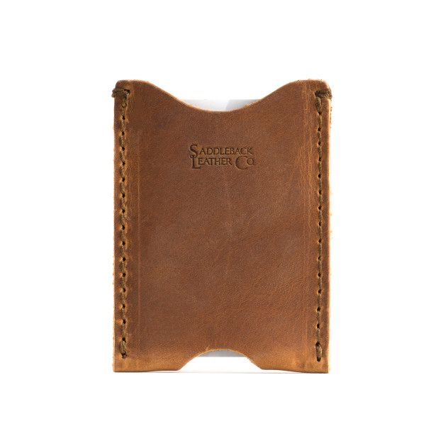 leather card sleeve wallet in tobacco leather