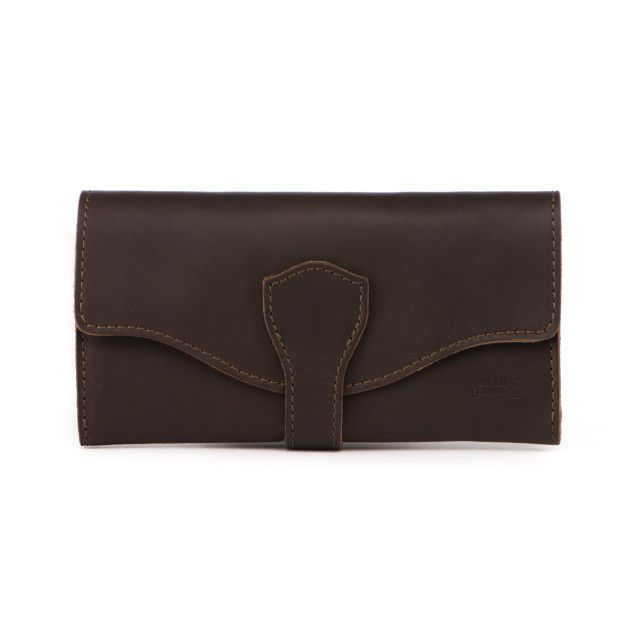 Long Trifold Leather Wallet - Dark Coffee Brown (25% Discount)