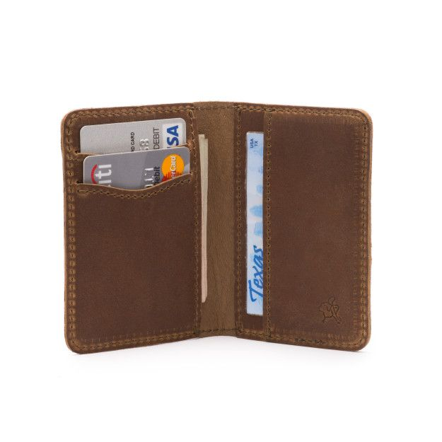 front pocket leather bifold wallet medium in tobacco leather
