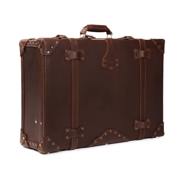 leather suitcase large in chestnut leather
