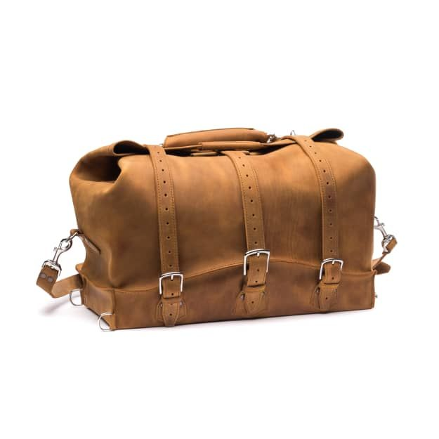 waterbag premium leather duffel bag medium in tobacco leather
