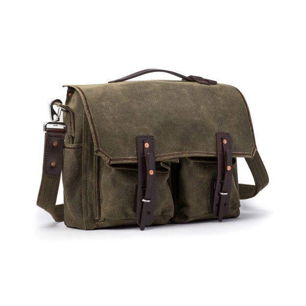 front pocket canvas gear bag medium in moss green canvas