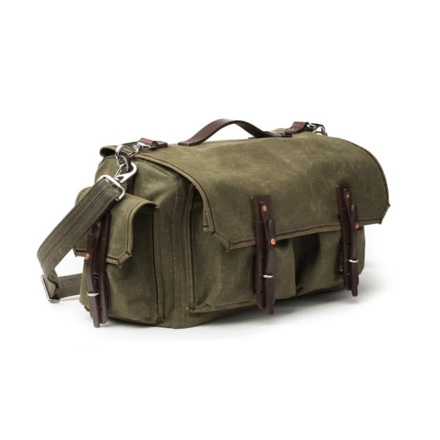 canvas duffel in moss green canvas