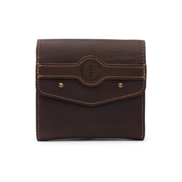 leather fly wallet medium in dark coffee brown leather