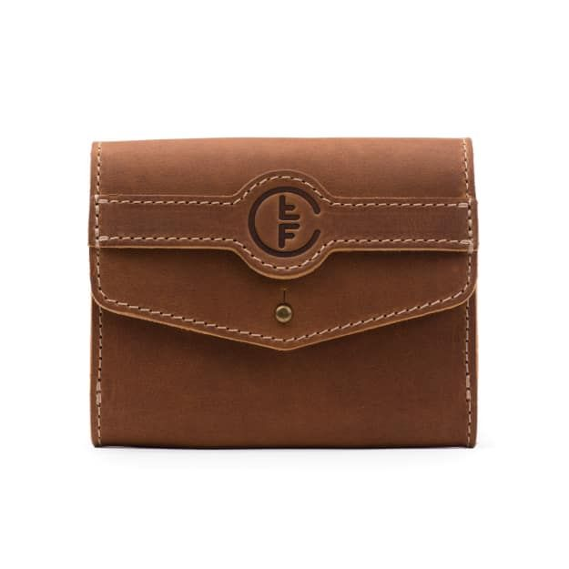 fly fishing leather leader wallet medium in tobacco leather