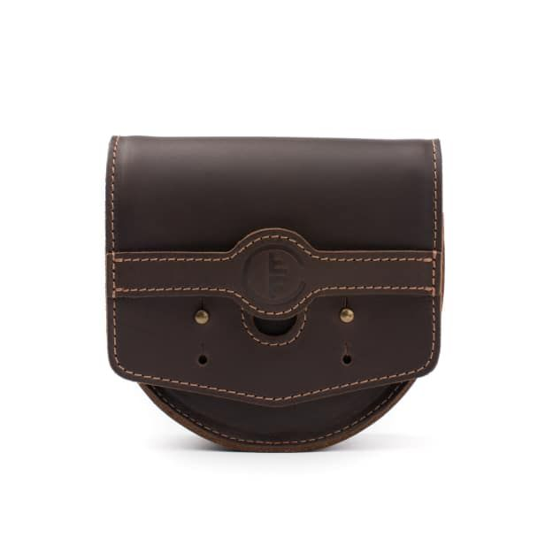 leather fly fishing reel case medium in dark coffee brown leather