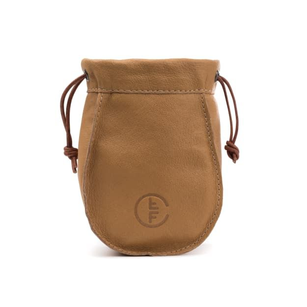leather fly fishing reel bag medium in camel