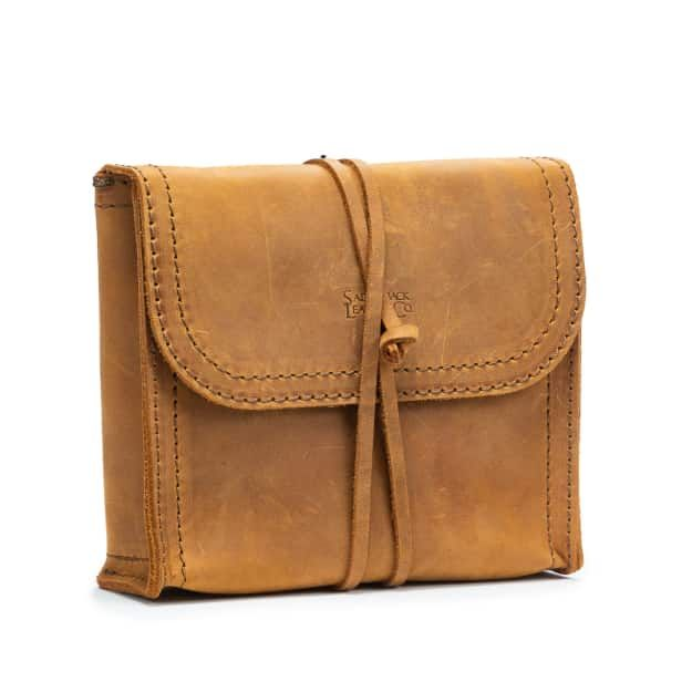 leather organizer bag in color tobacco from the front