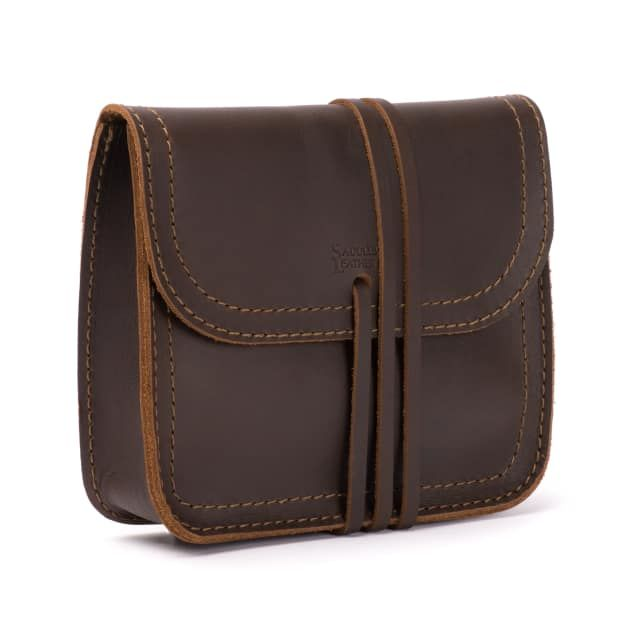 leather cable bag in dark coffee brown leather