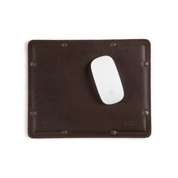 premium leather desk pads small in dark coffee brown leather