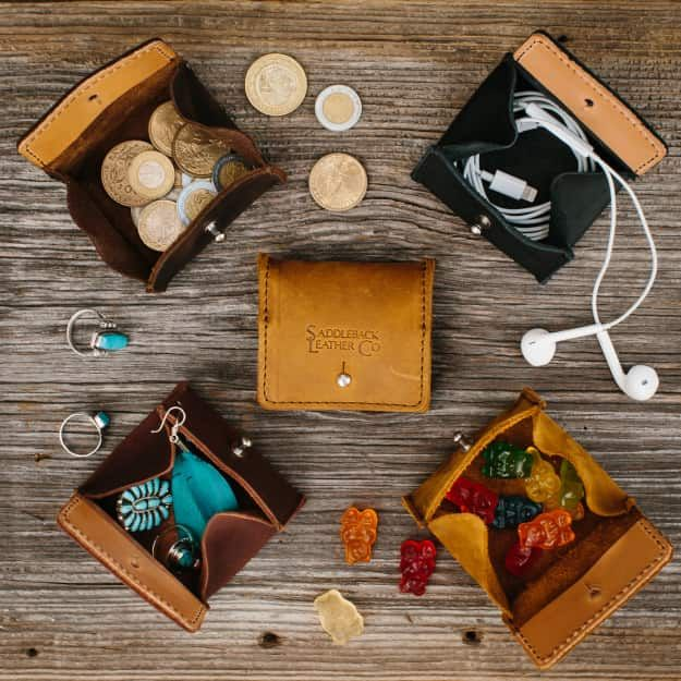 Earpud Pouch in all 4 available colors of Tobacco, Chestnut, Dark Coffee Brown and Black