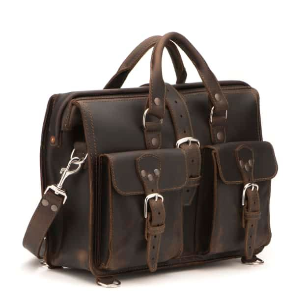 Leather Flight Bag in color Dark Coffee Brown shown from the Front at an Angle