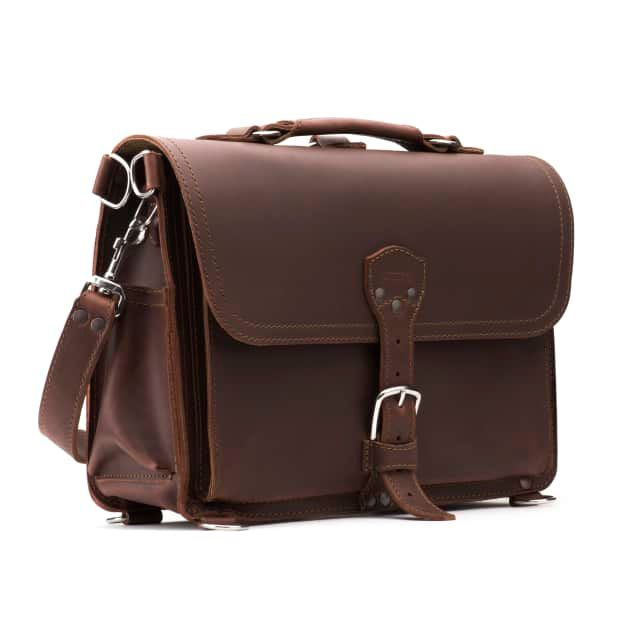 Leather Slim Laptop Briefcase in color Chestnut Front Angle