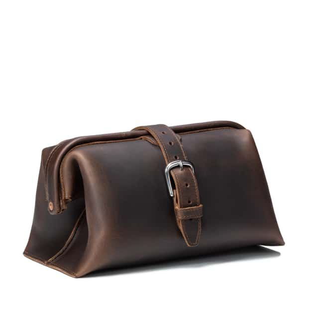 Toiletry Bag in color Dark Coffee Brown Front Angle