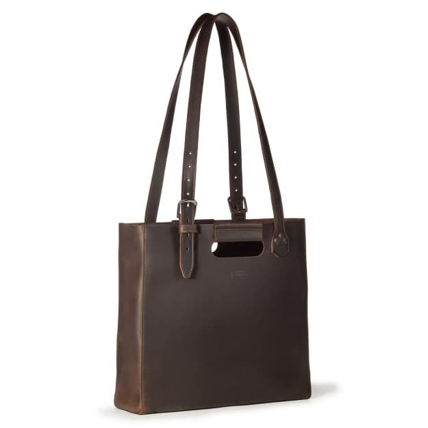The Leather Tote in Dark Coffee Brown Front Angle