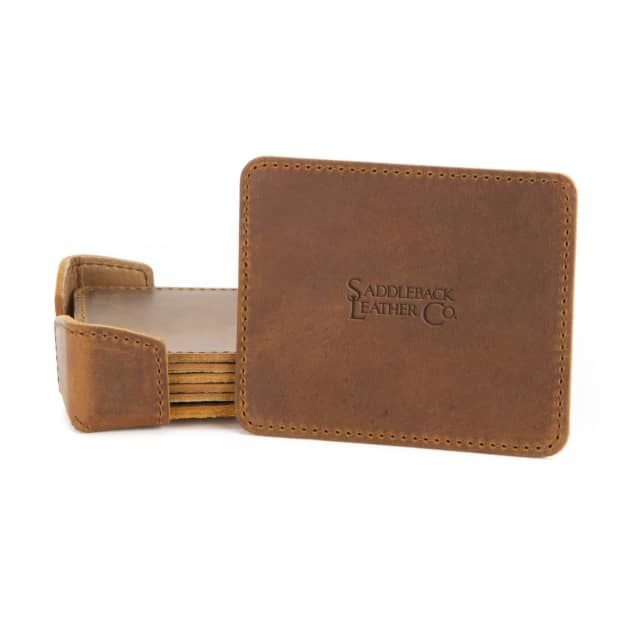 A leather coaster set in tobacco leather