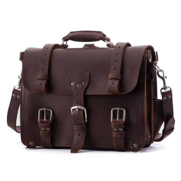 Classic Leather Briefcase - Large, Chestnut (25% Discount)