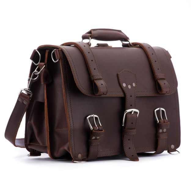 leather briefcase large in chestnut leather