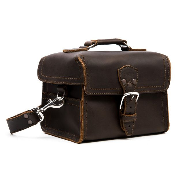 leather gadget bag medium in dark coffee brown leather
