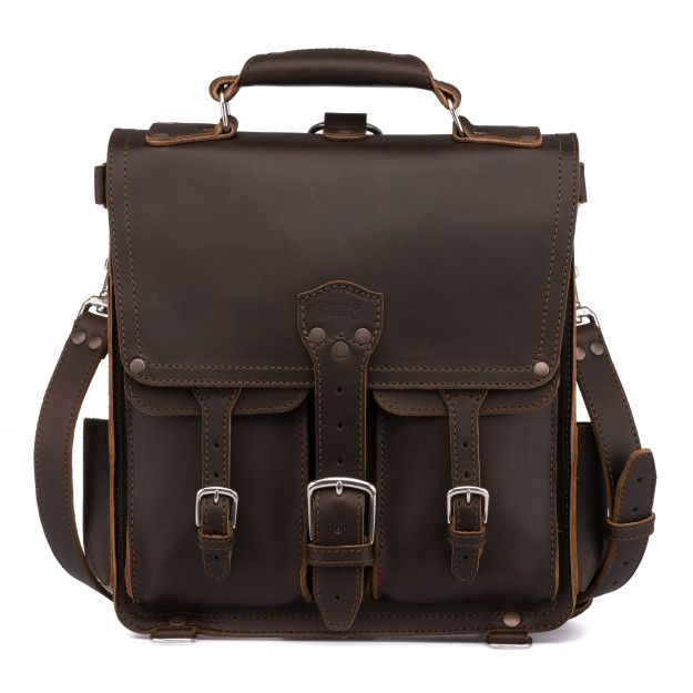 Front Pocket Leather Messenger Bag - Dark Coffee Brown (10% Discount)